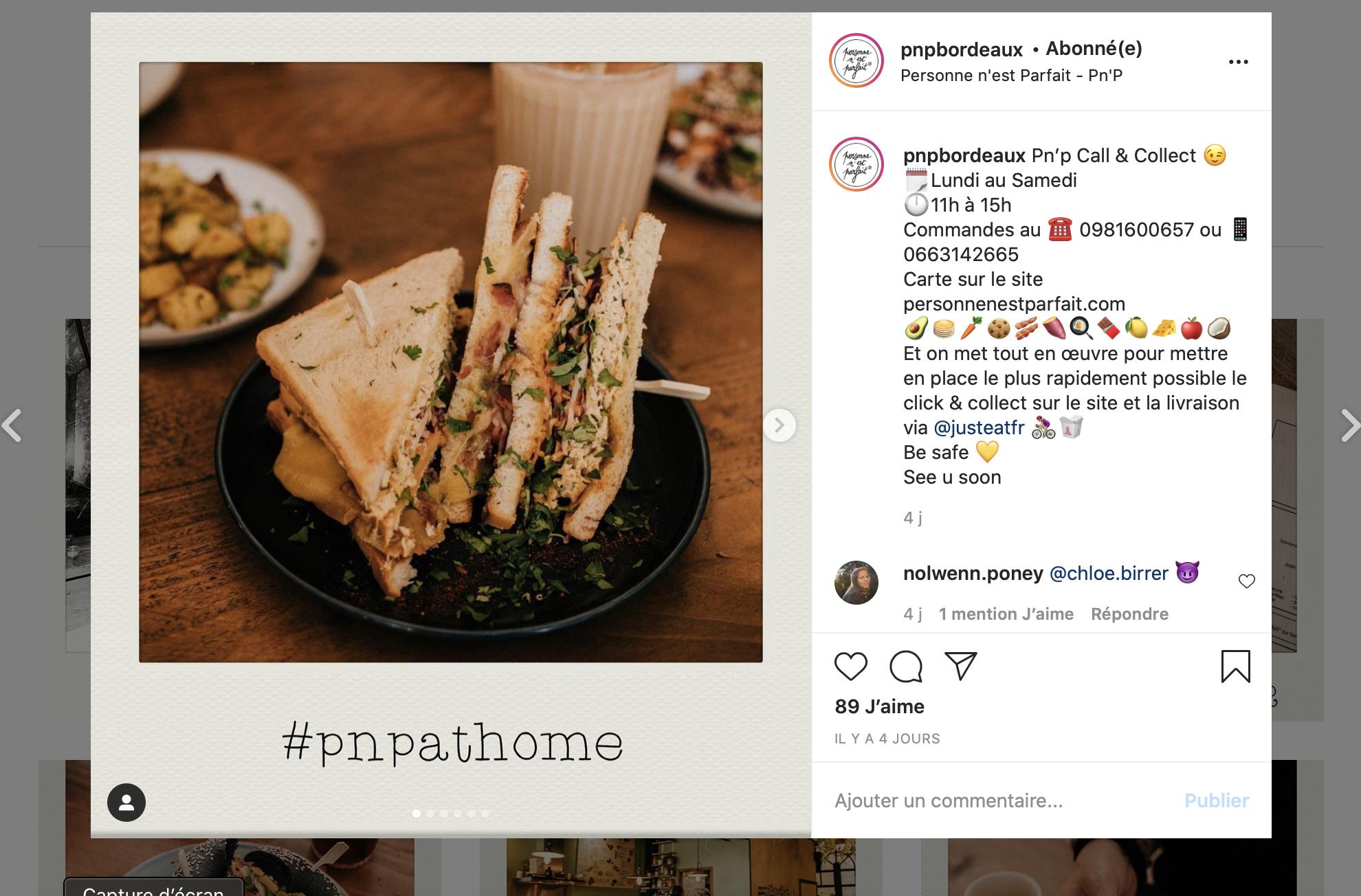 Publication Instagram restaurant bordelais