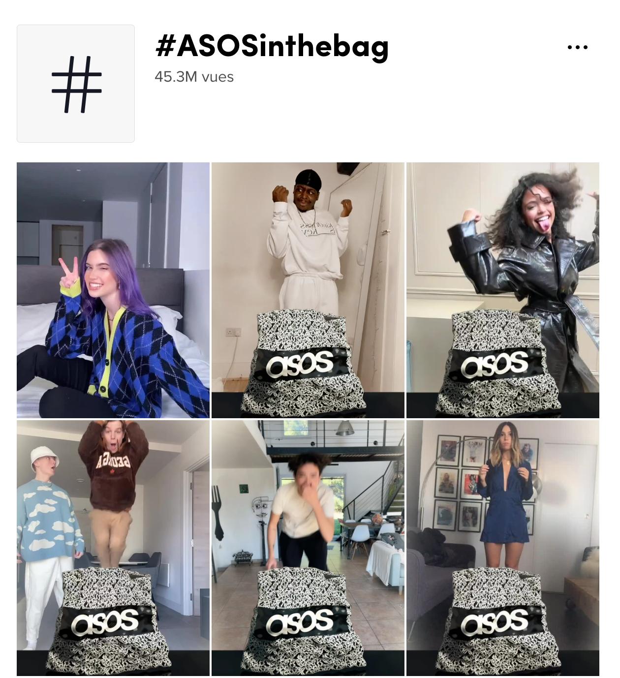 page du challenge tiktok créé par la marque Asos #ASOSinthebag