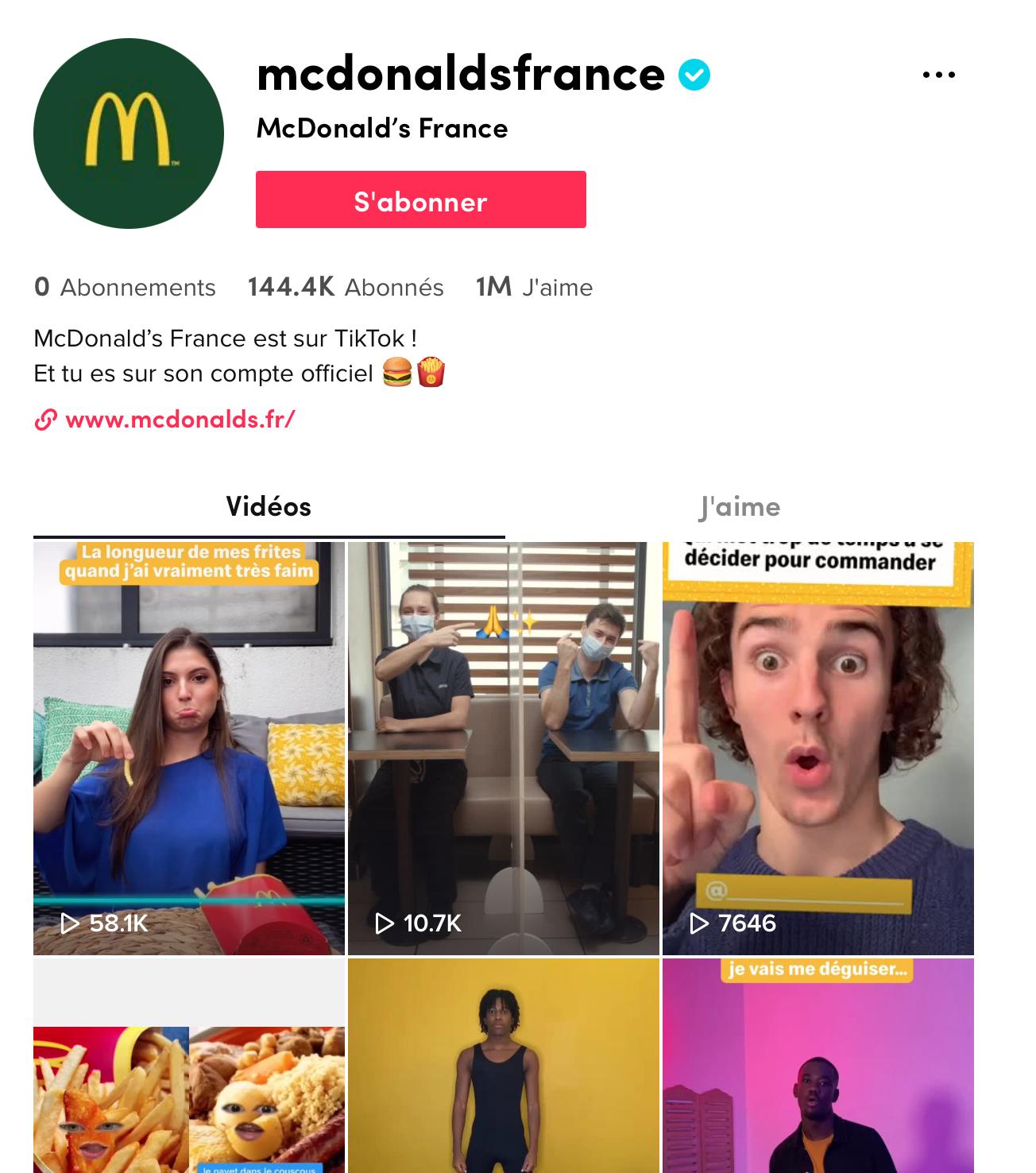 compte tiktok de McDonald's France