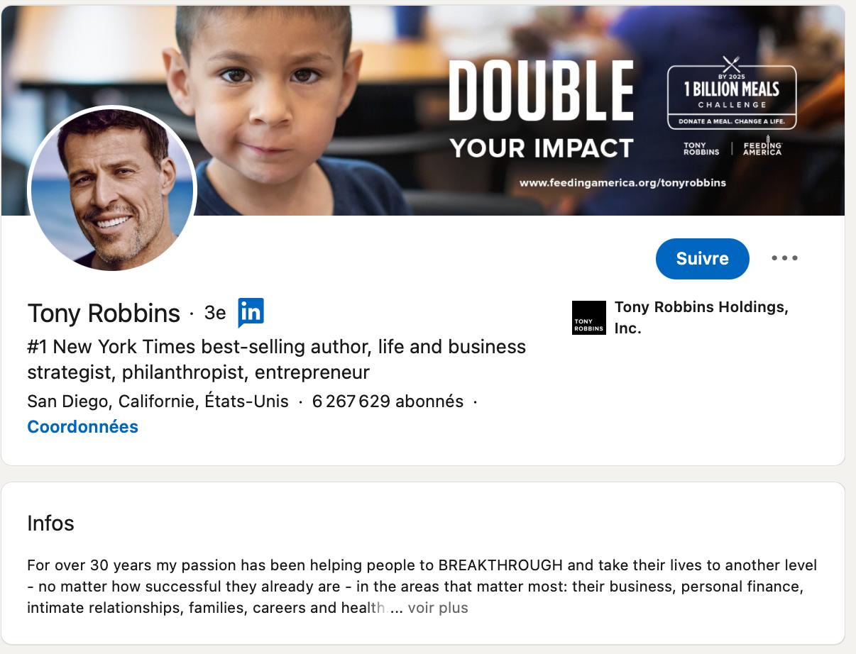 compte Tony Robbins sur Linkedin