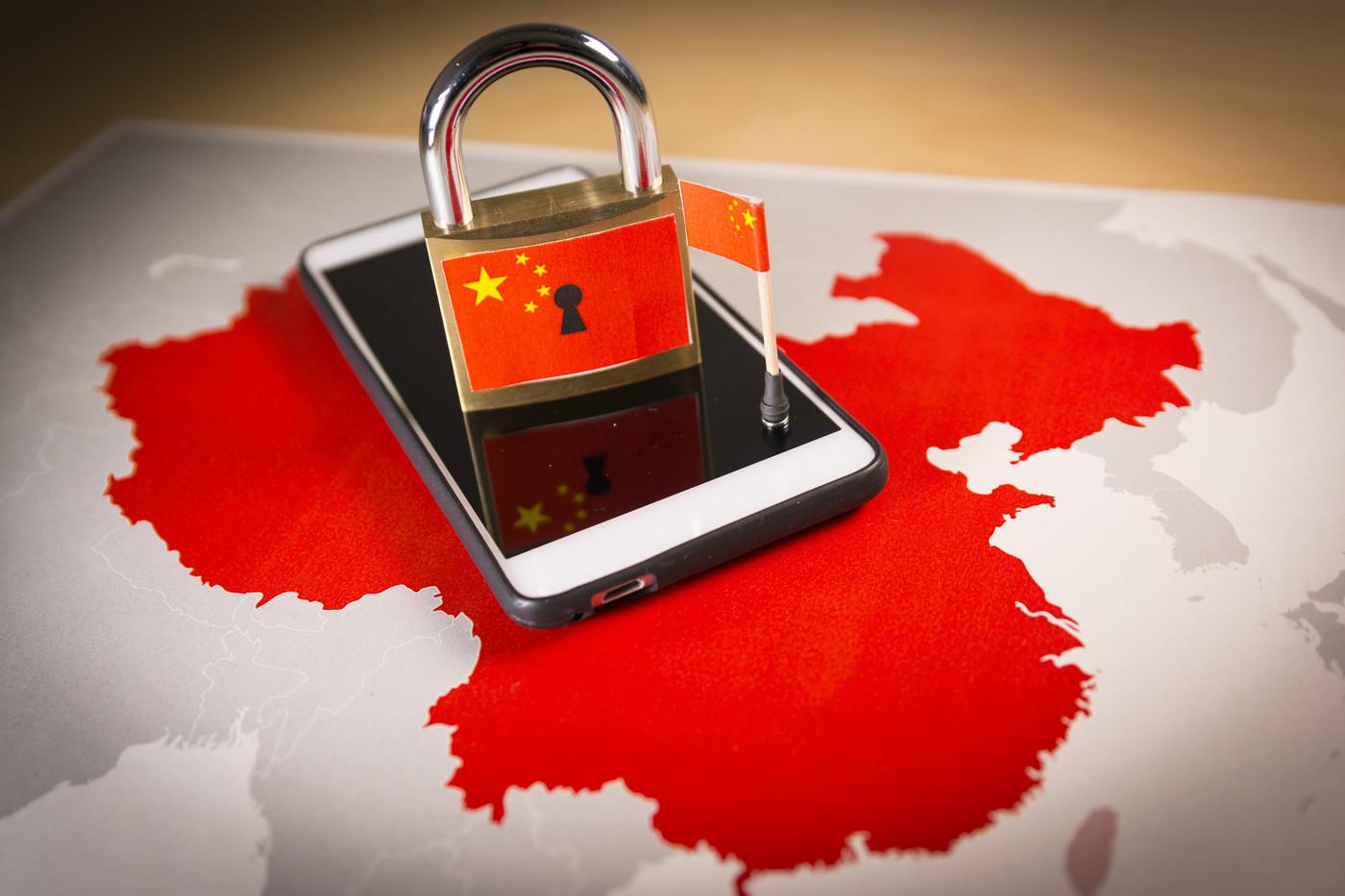 Portable verrouillé sur la Chine, symbolisant la censure